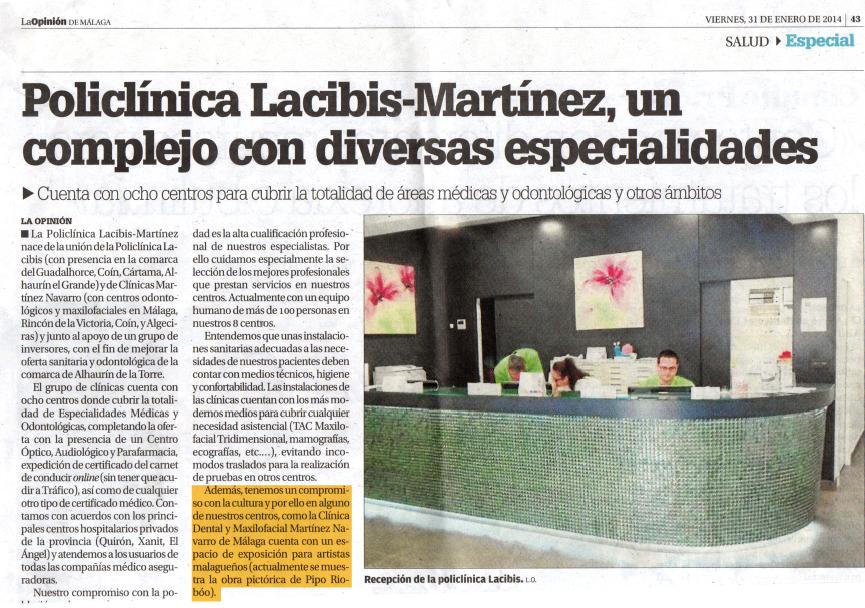 Articulo de La Opinión de Málaga recogiendo la noticia del nacimiento de la Policlínica Lacibis-Martínez.
